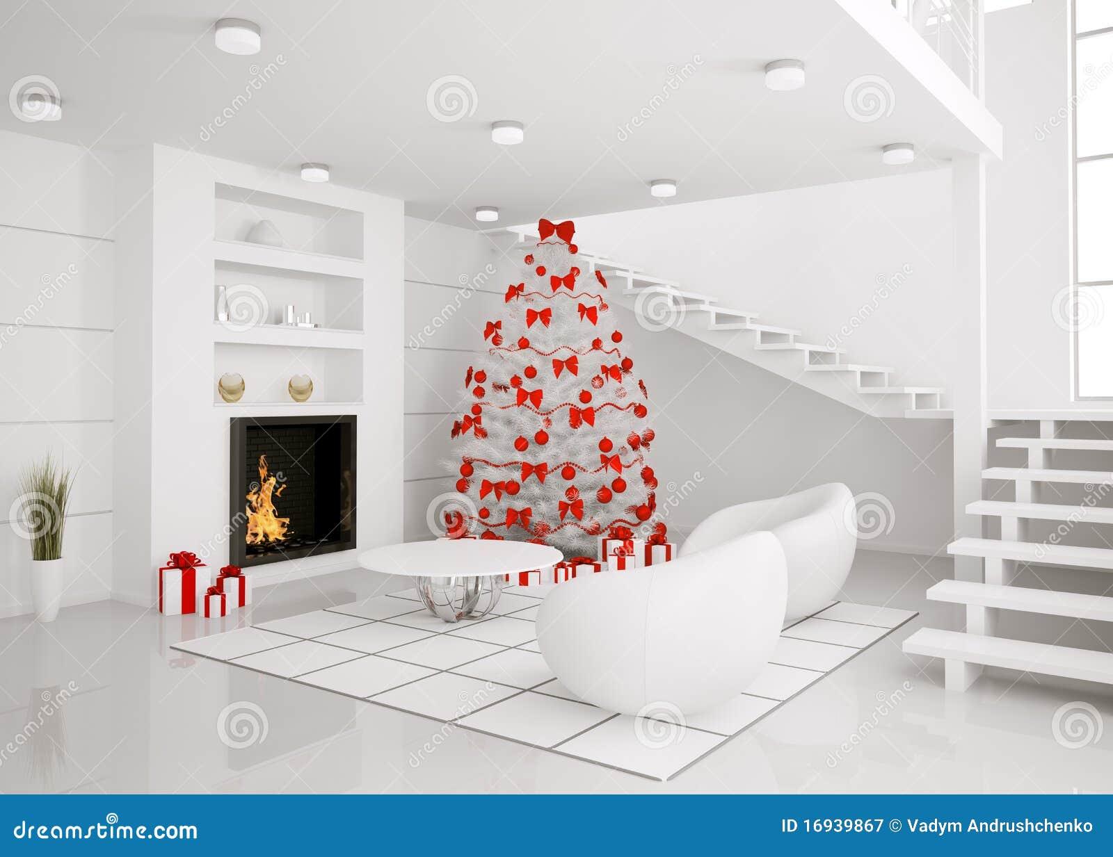 L 39 albero di natale nell 39 interiore moderno 3d rende - Arboles navidad modernos ...