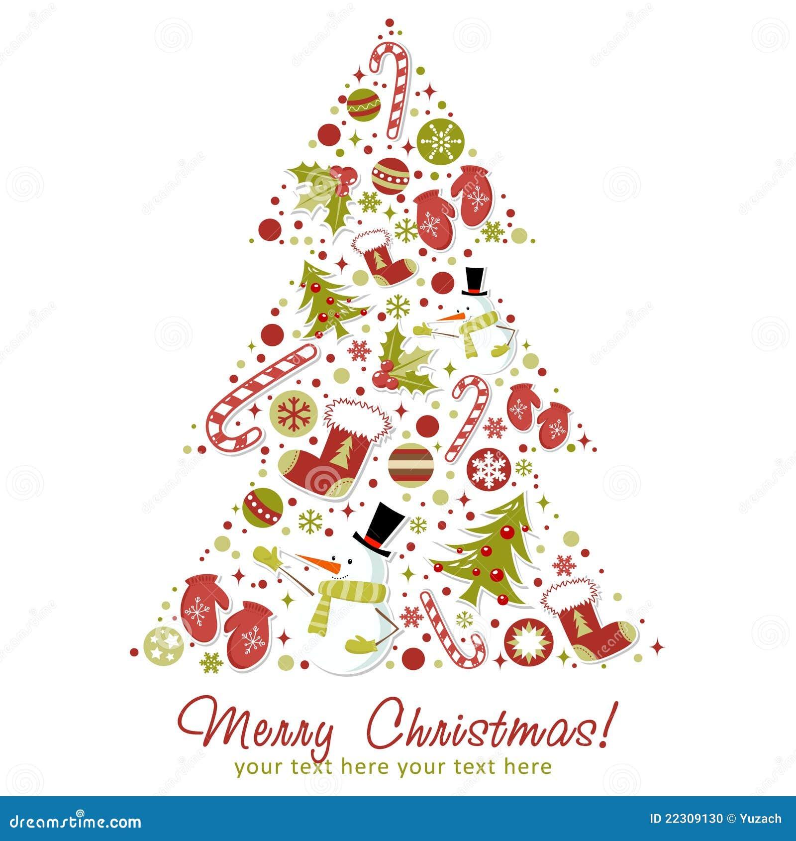 L Albero Di Natale Stilizzato Con Natale Gioca Sfere Illustrazione