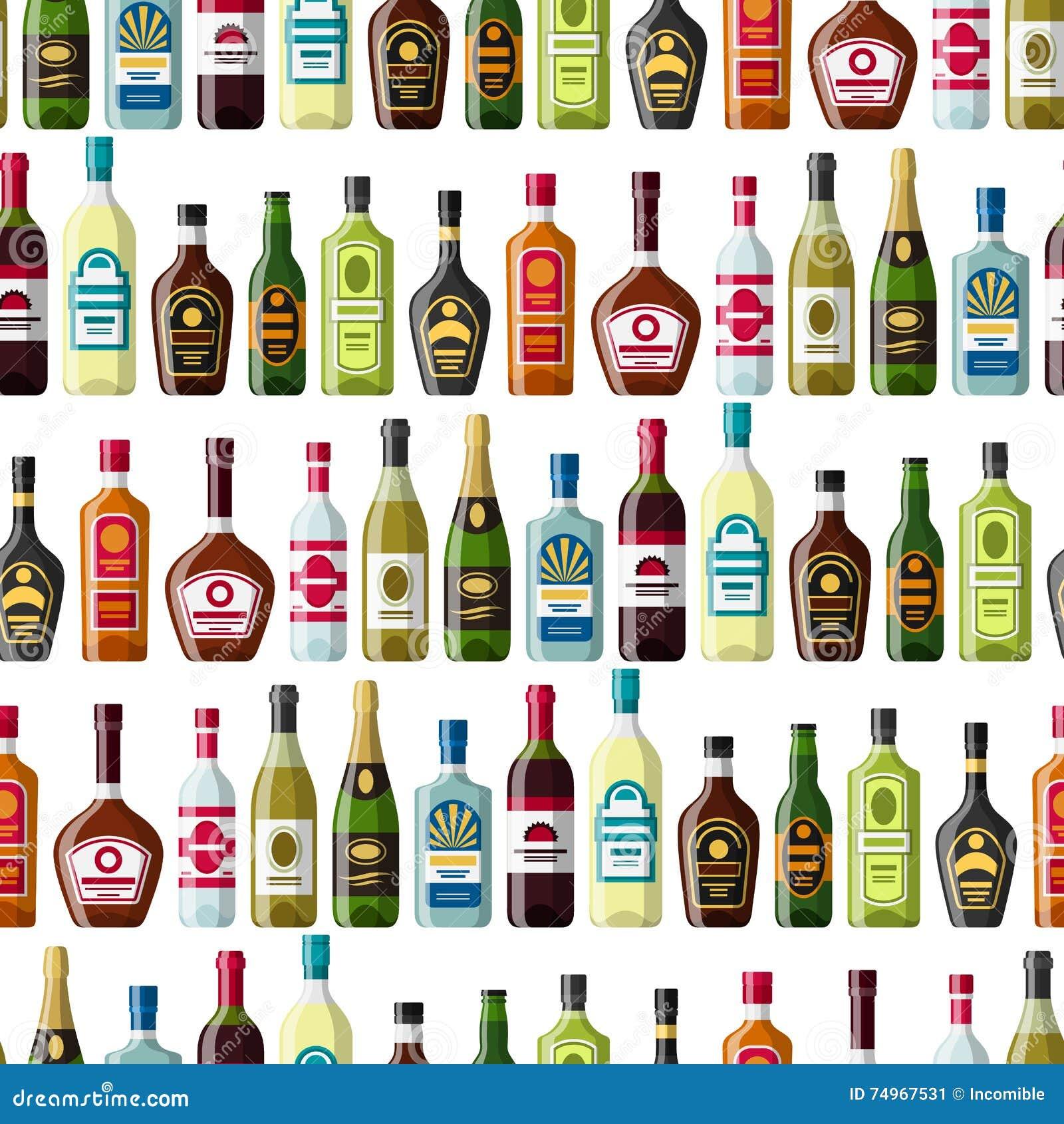 L alcool beve il modello senza cuciture Bottiglie per i ristoranti e le barre