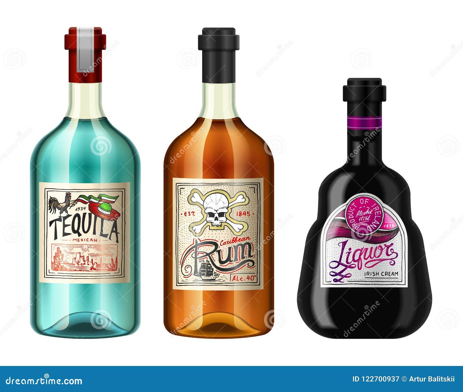 L alcool beve in una bottiglia con differenti etichette d annata Rum realistico di tequila del liquore Illustrazione di vettore p