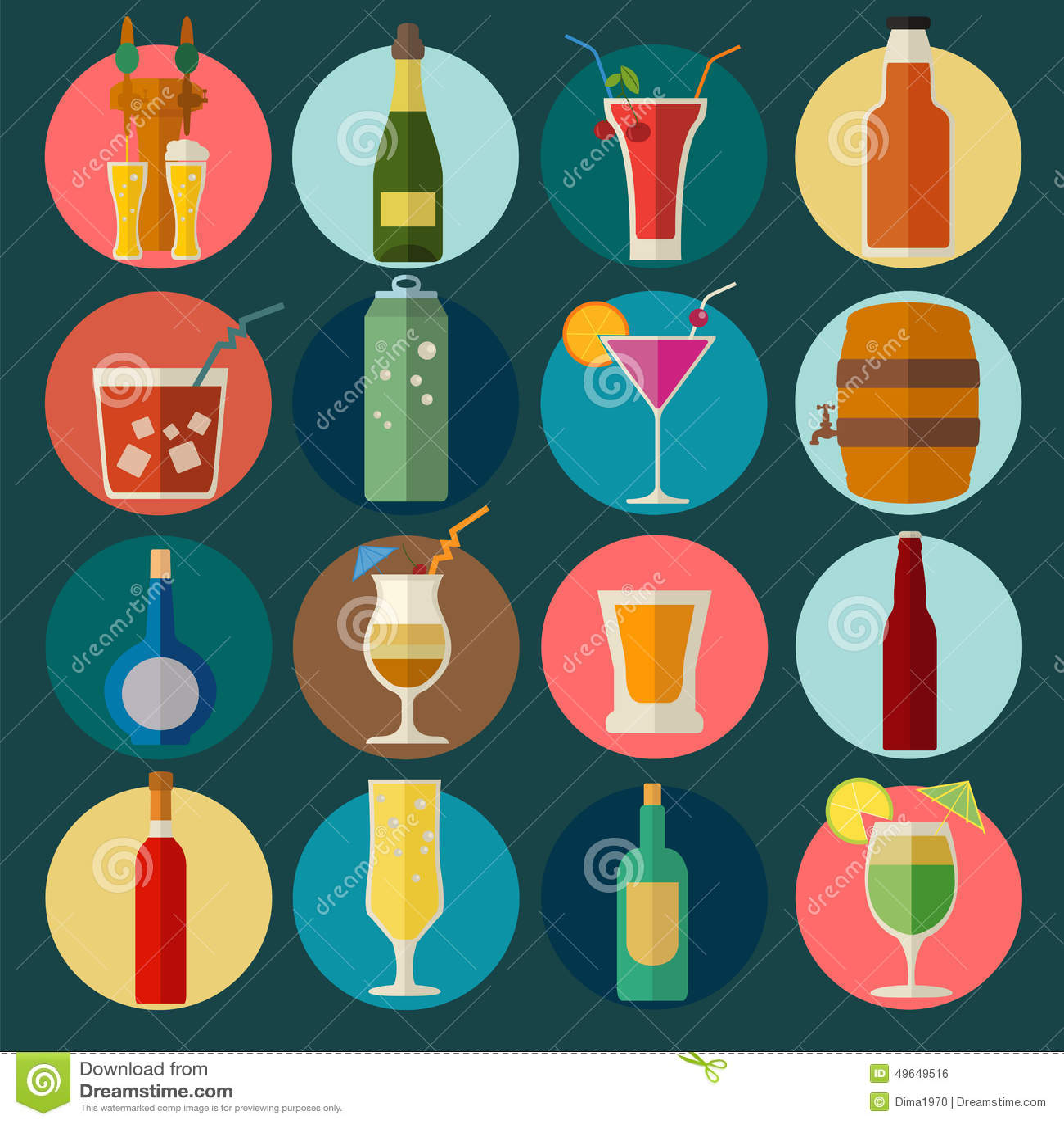 L alcool boit des graphismes 16 icônes plates réglées