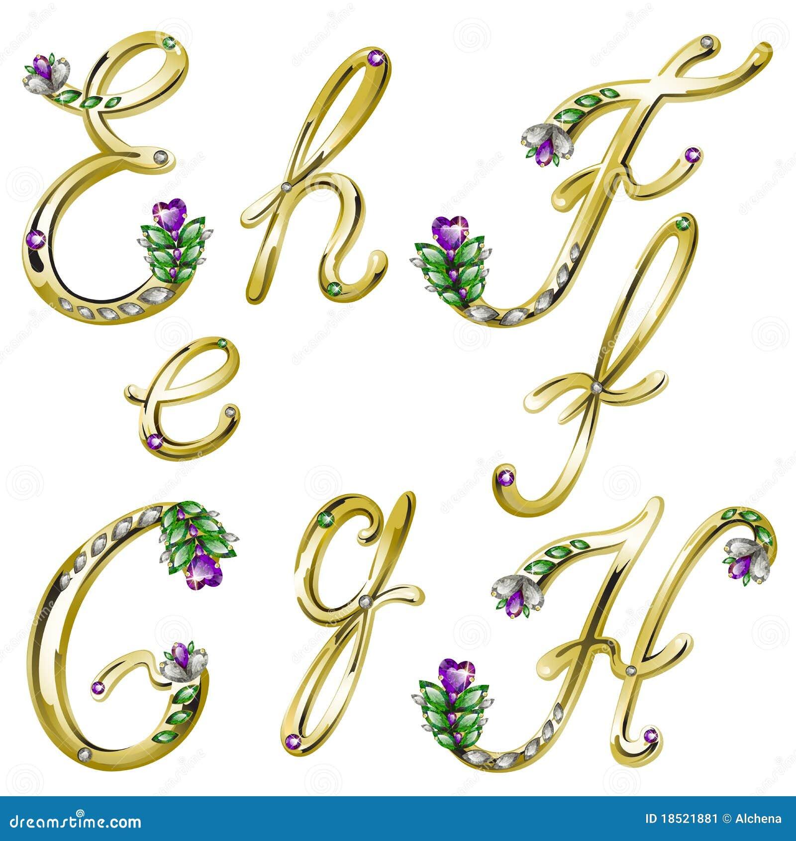 alfabeto Dell'oro Con Le Gemme Segna La E Con Lettere, La F, Il G, H ...