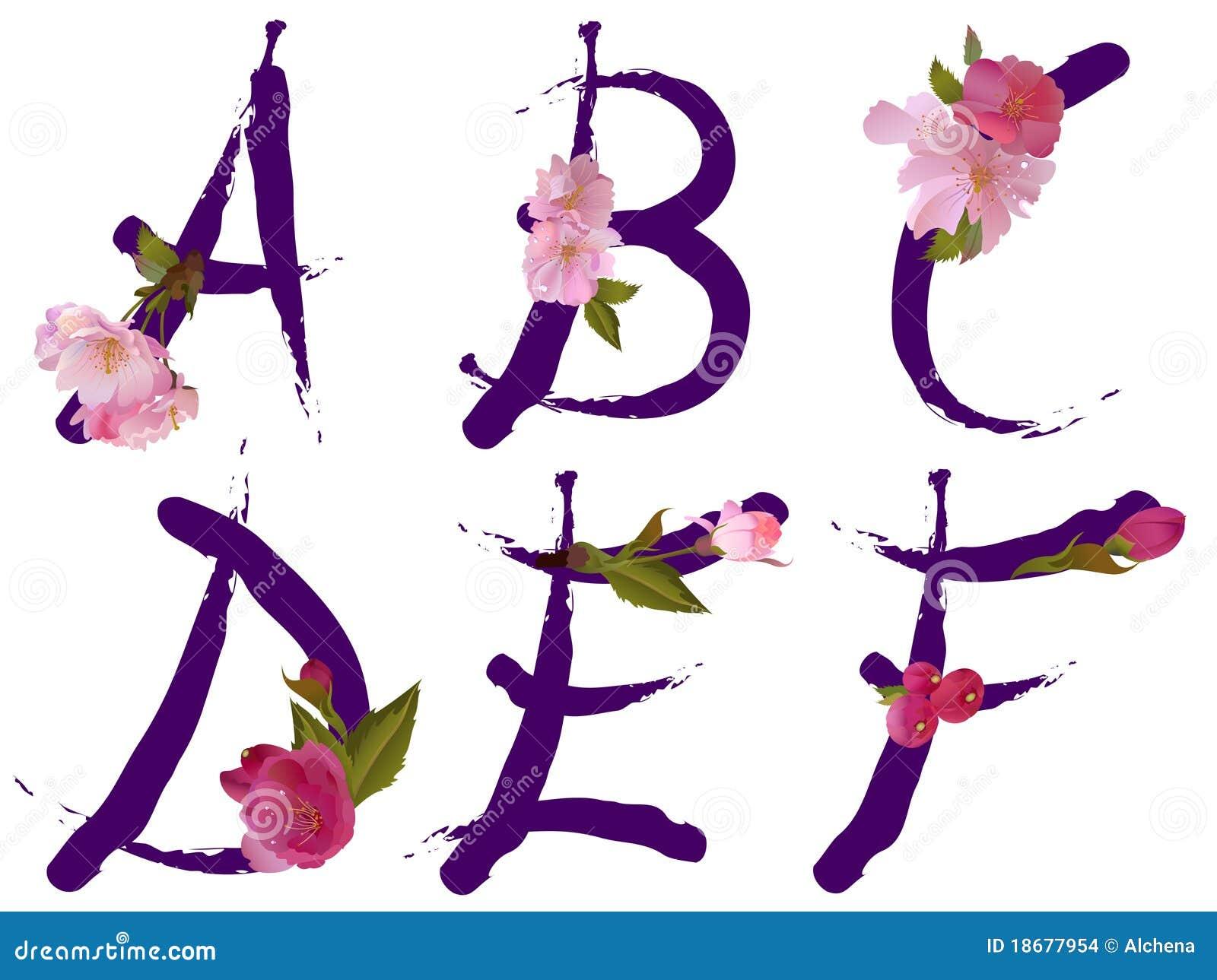 l 39 alfabeto della sorgente con i fiori segna a con lettere