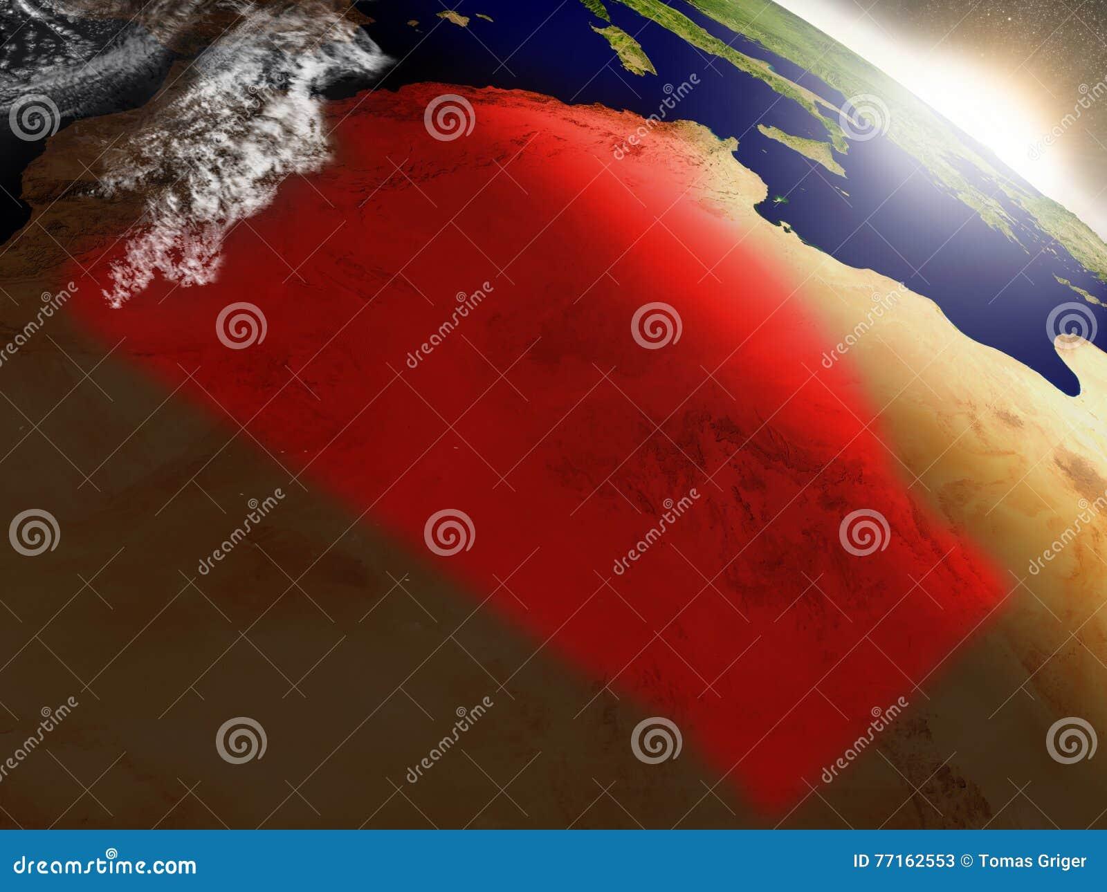 L Algérie de l espace accentué en rouge