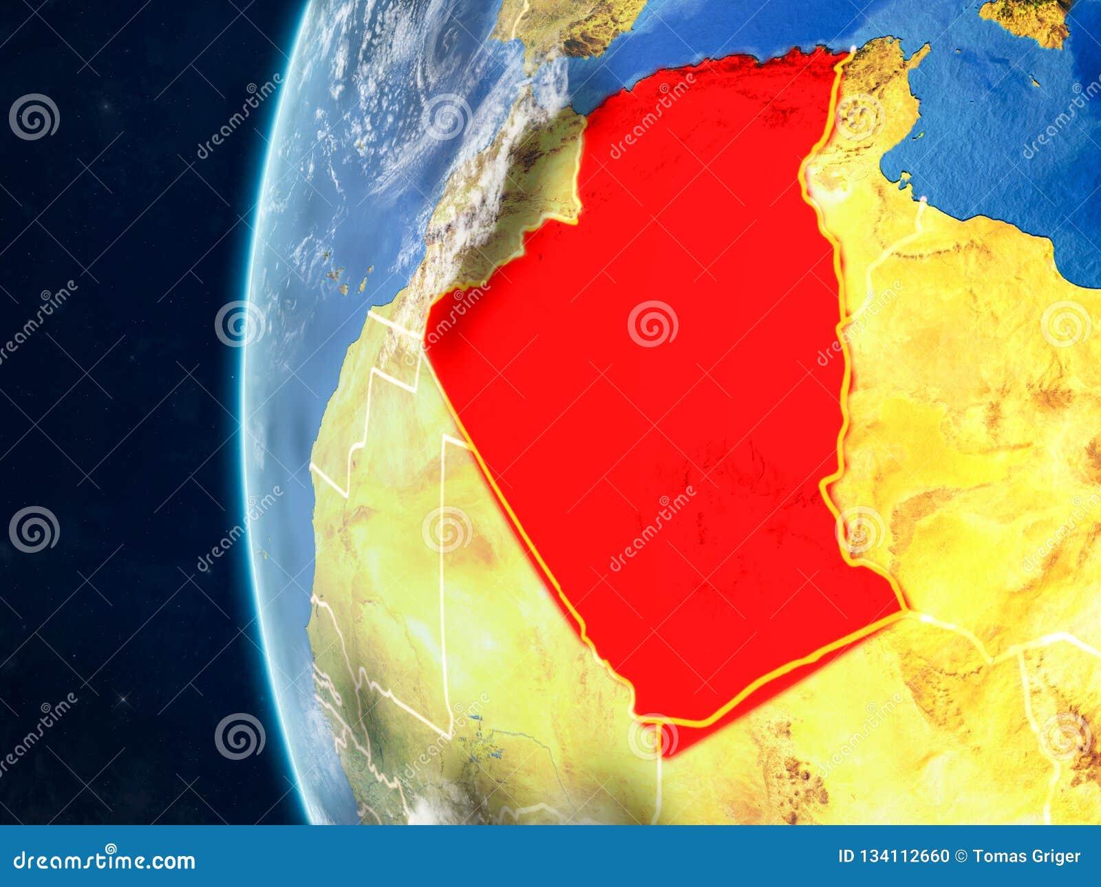 L Algérie sur le globe de l espace