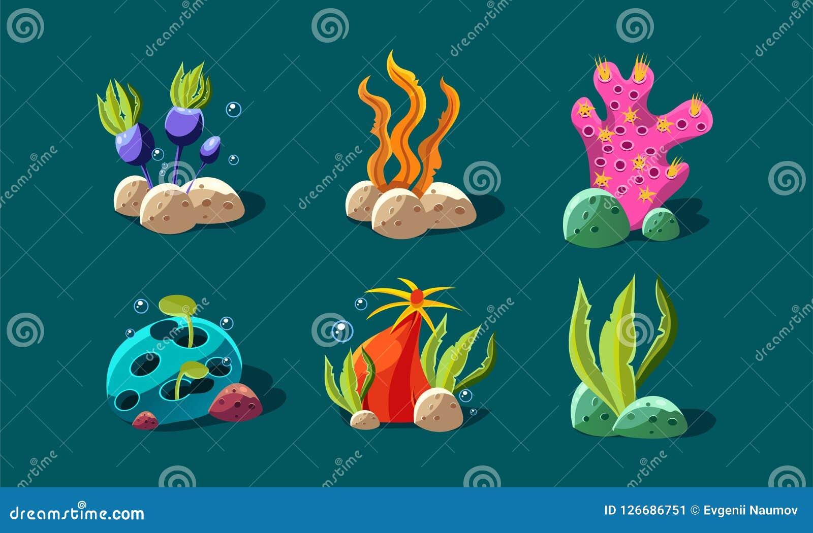 L alga e le piante subacquee hanno messo, piante variopinte di fantasia, beni dell interfaccia utente per i apps mobili o dettagl