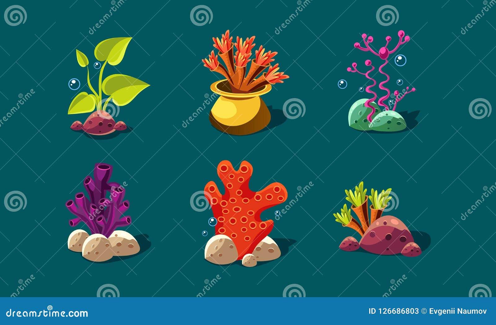 L alga, i coralli e le piante subacquee hanno messo, piante variopinte di fantasia, beni dell interfaccia utente per i apps mobil