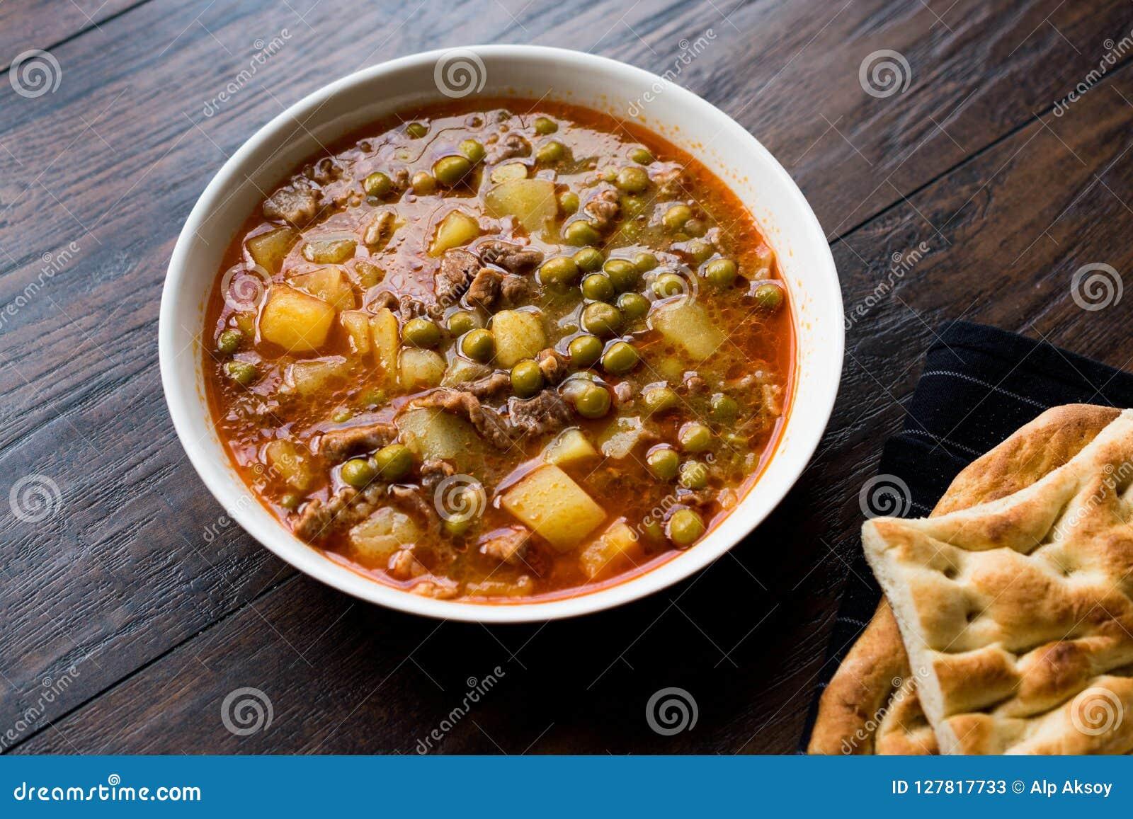 L alimento turco Pea Stew verde carnoso/ha stufato la carne Etli Bezelye