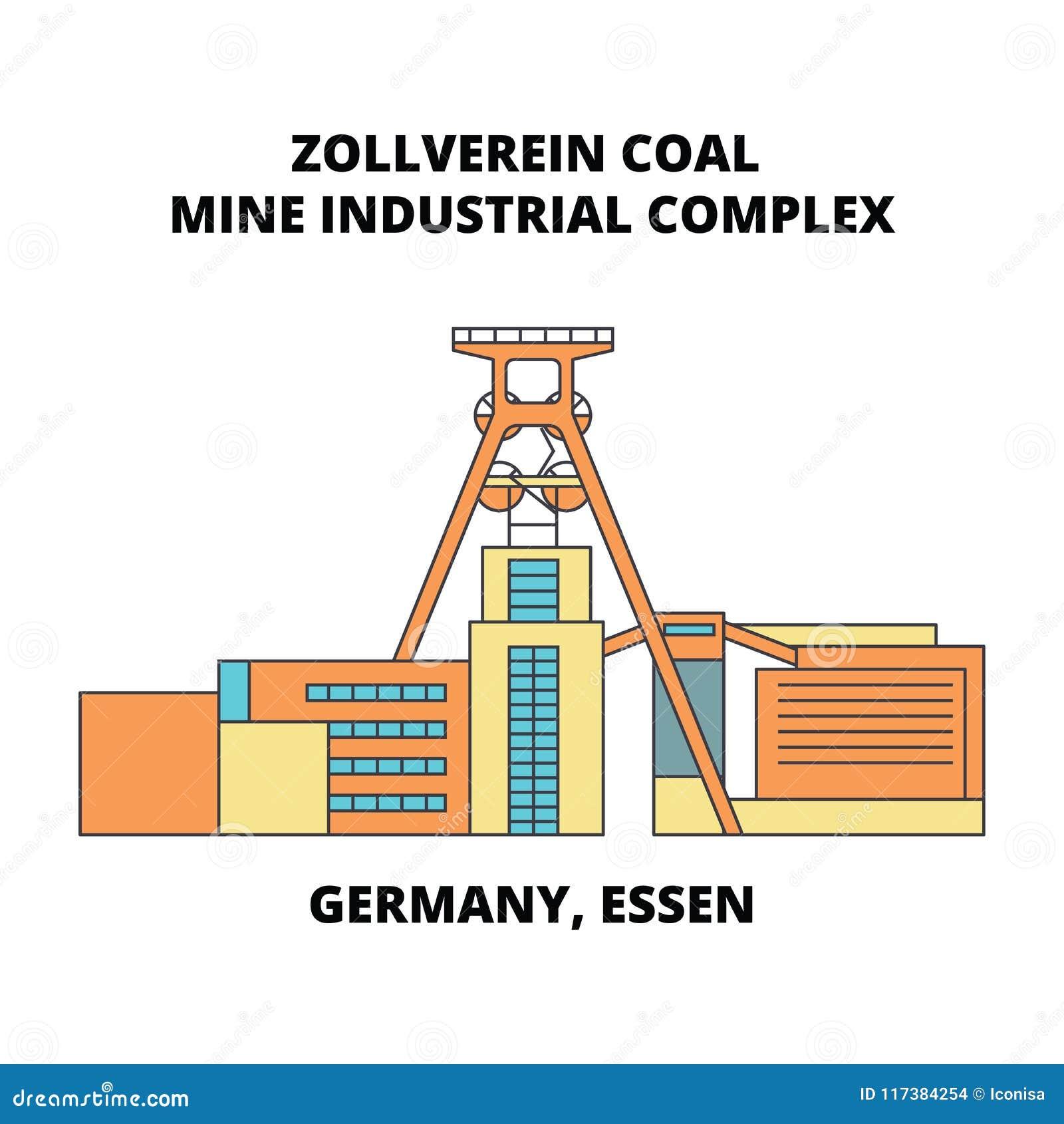 L Allemagne, Essen, ligne concept de complexe industriel de mine de charbon de Zollverein d icône L Allemagne, Essen, mine de cha