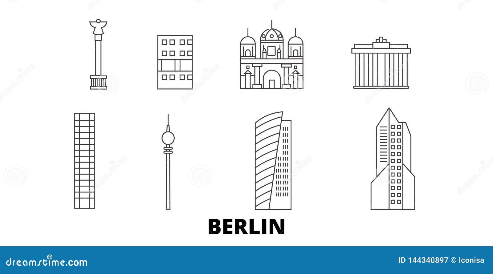L Allemagne, ligne ensemble de Berlin City d horizon de voyage L Allemagne, illustration de vecteur de ville d ensemble de Berlin