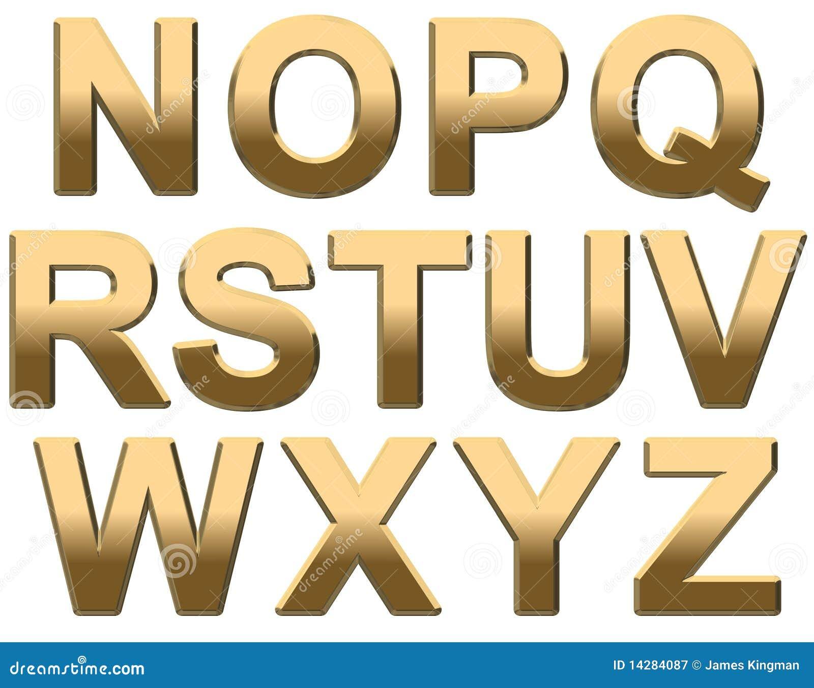 Extrêmement L'alphabet D'or Marque Avec Des Lettres N-Z Majuscule Sur Le Blanc  TE57