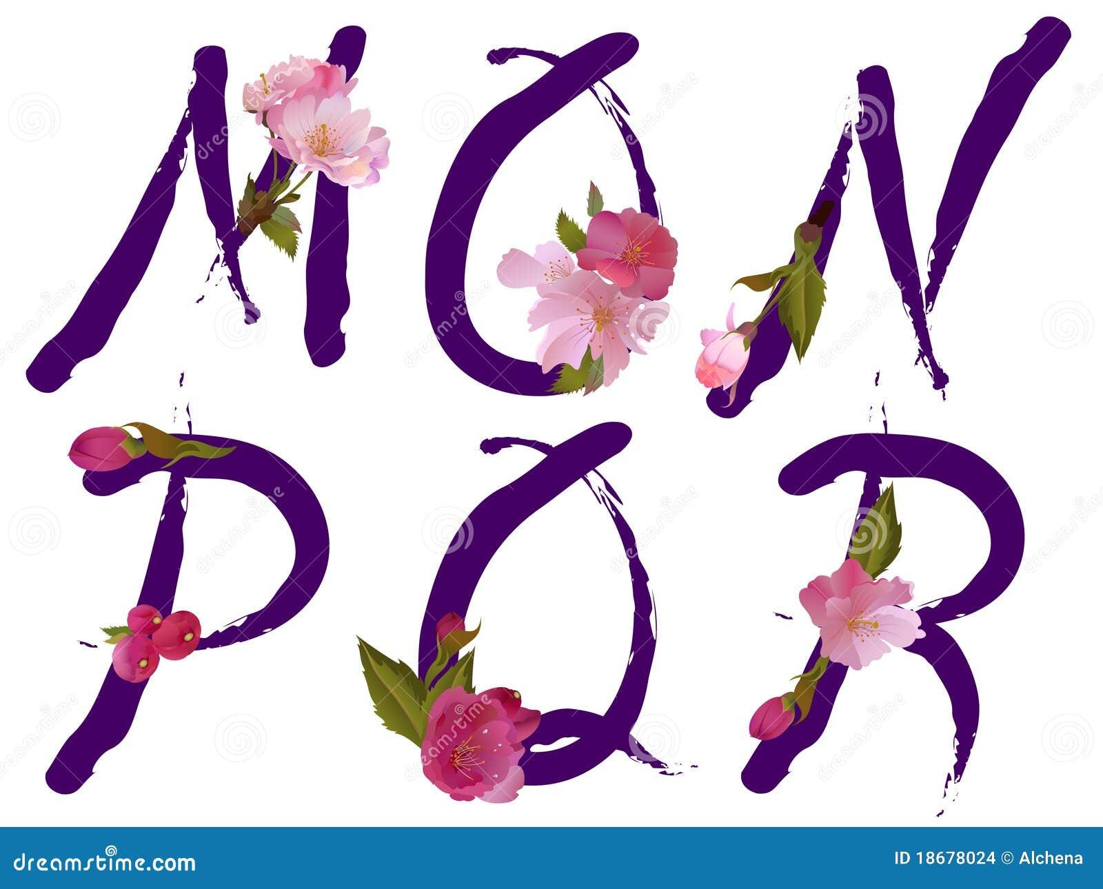 l 39 alphabet de source avec des fleurs marque avec des lettres m n o p q r illustration de. Black Bedroom Furniture Sets. Home Design Ideas