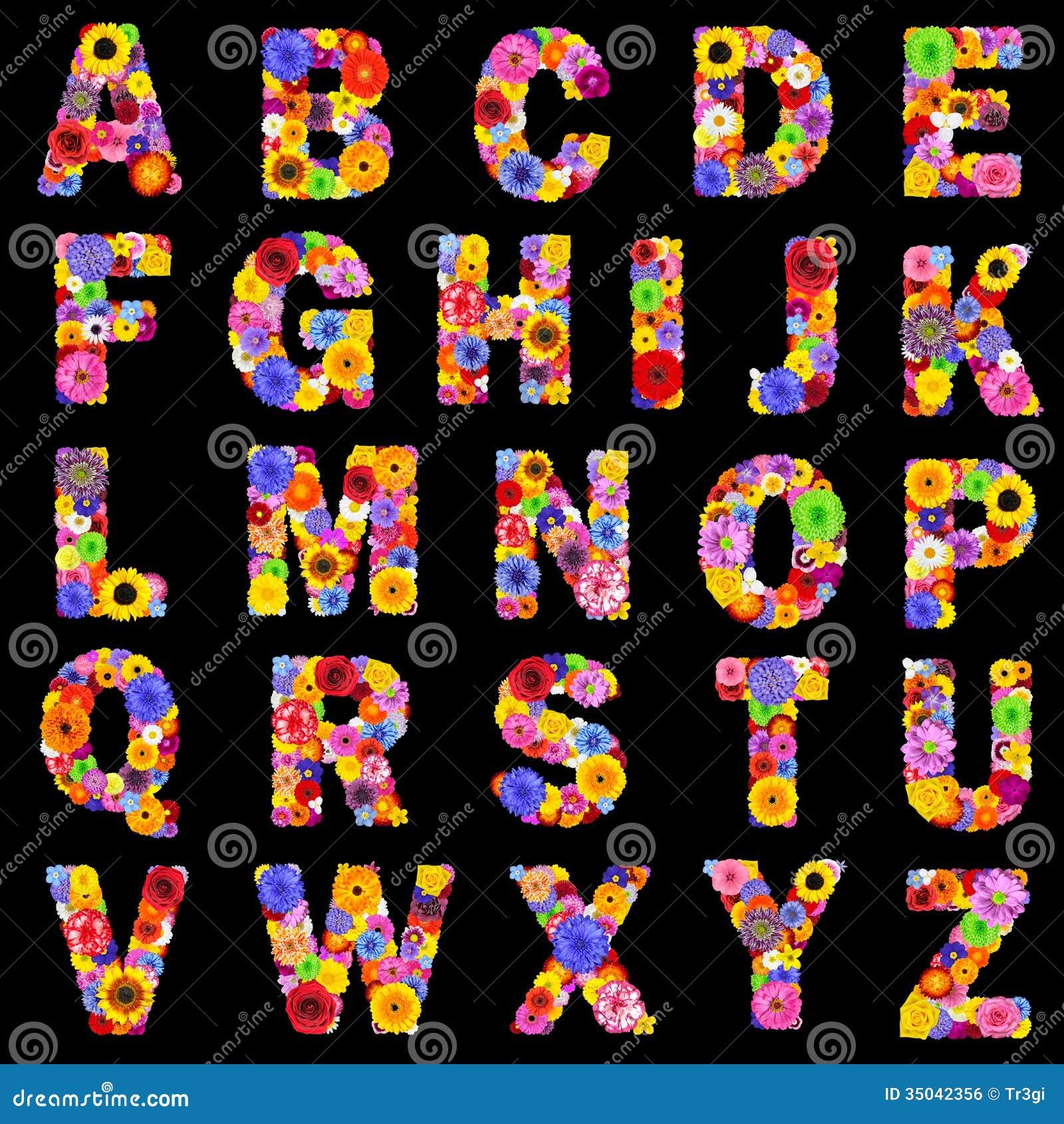 L 39 alphabet floral en entier a isol sur les lettres noires - Lettres alphabet originales ...
