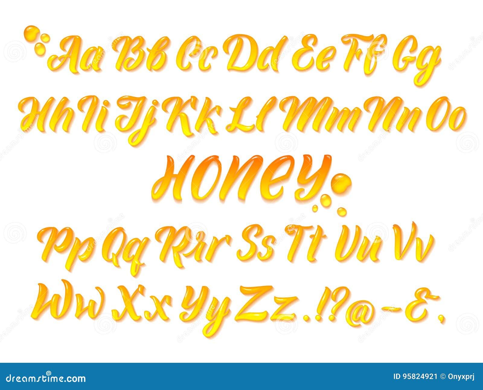 L alphabet latin mielleux liquide avec de l or éclabousse Main écrivant l ensemble jaune de vecteur de lettres