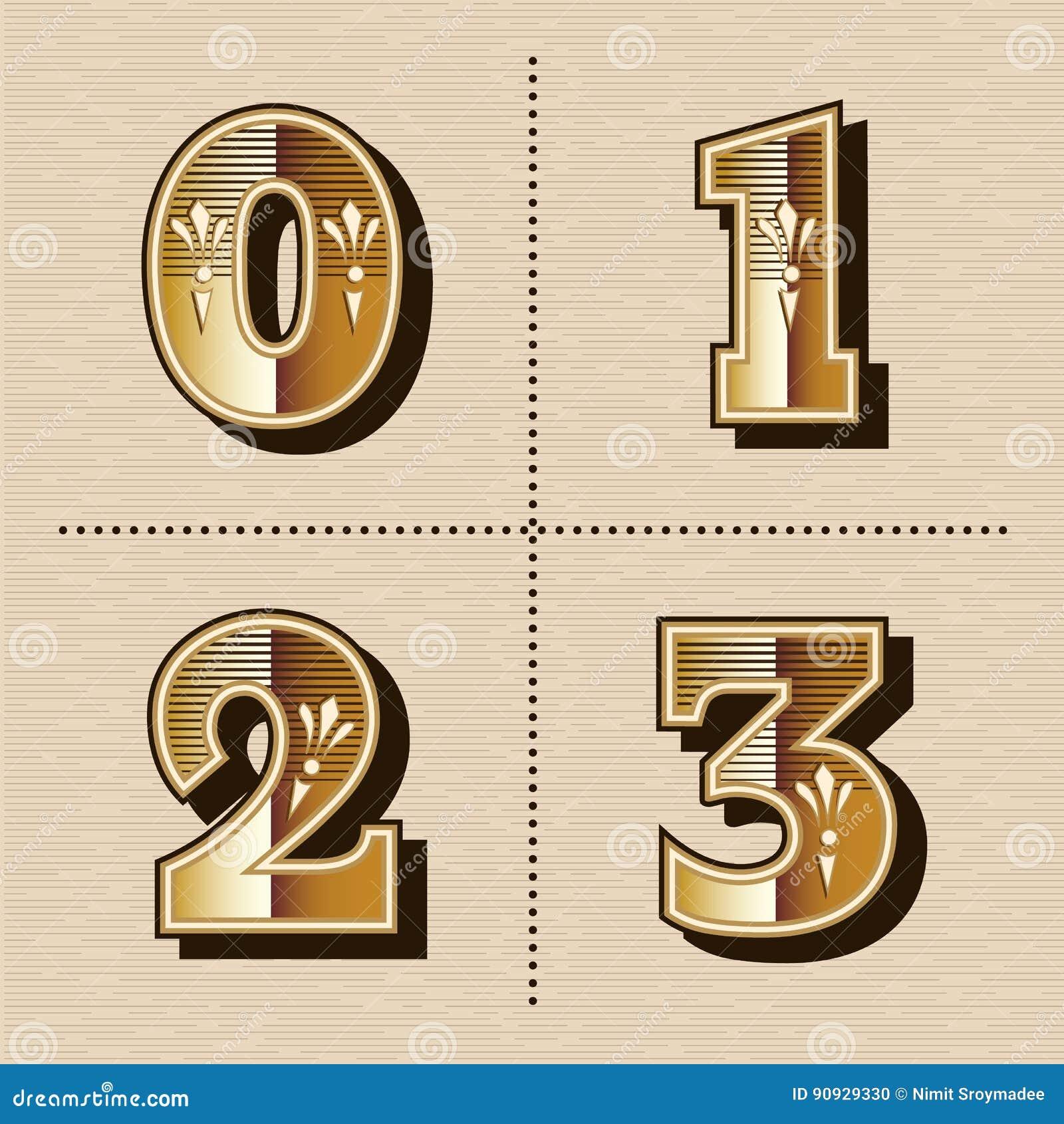 L alphabet occidental de nombres de vintage marque avec des lettres le vecteur de création de fonte
