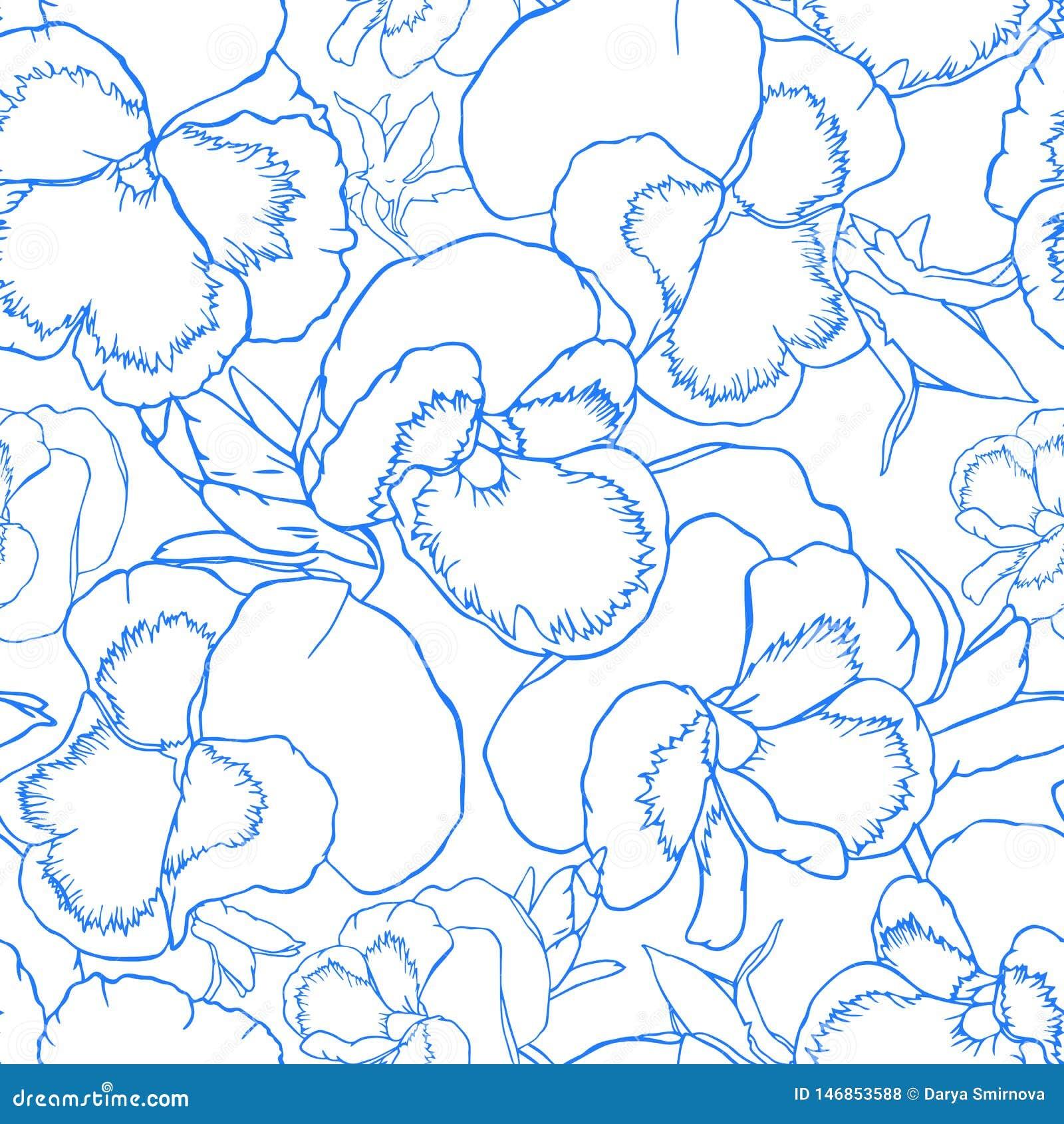 L alto tiré par la main d ensemble fleurit le modèle sans couture pour la conception de tissu, de papier peint et de textile