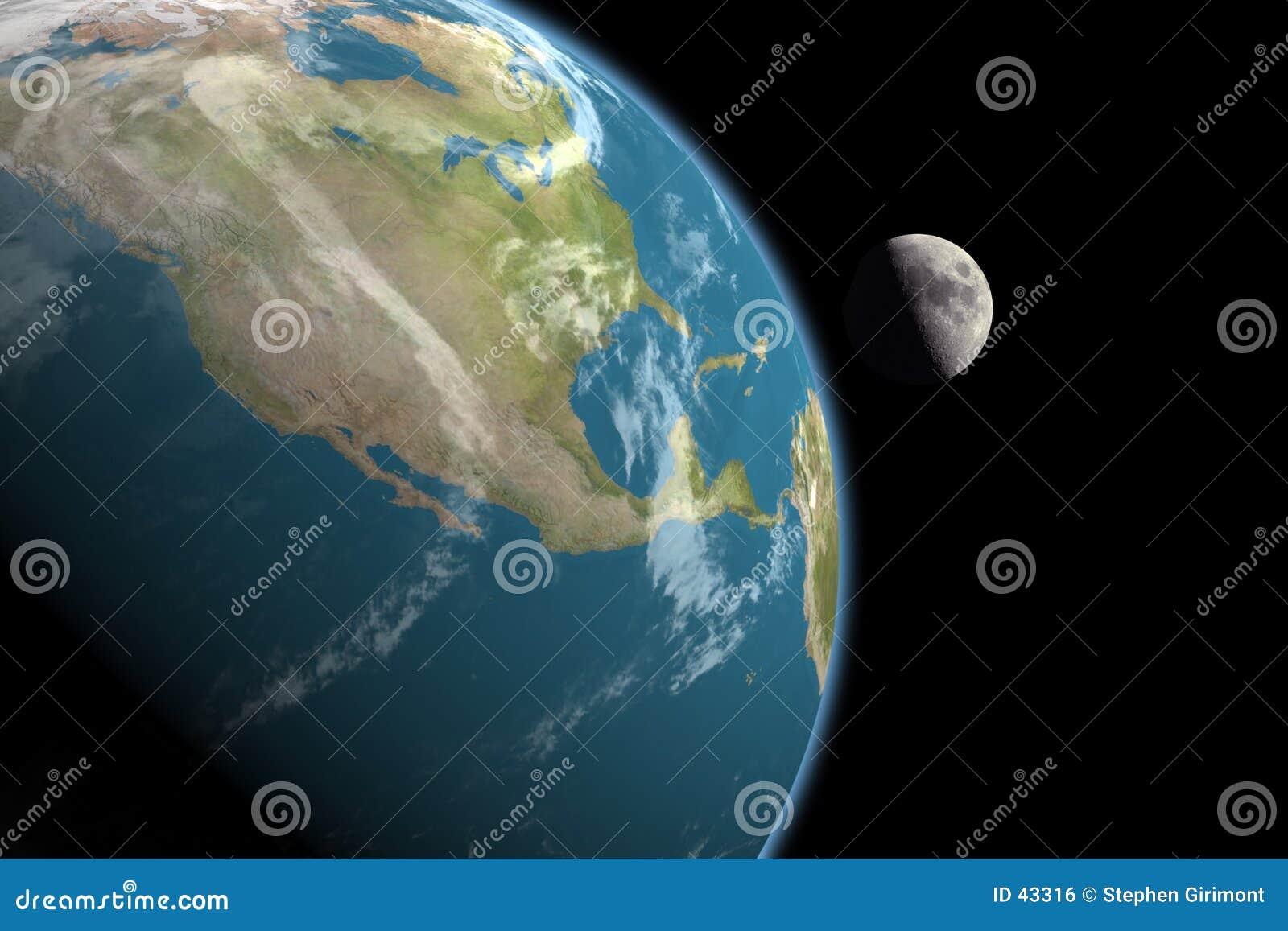 L Amérique du Nord et lune, aucunes étoiles