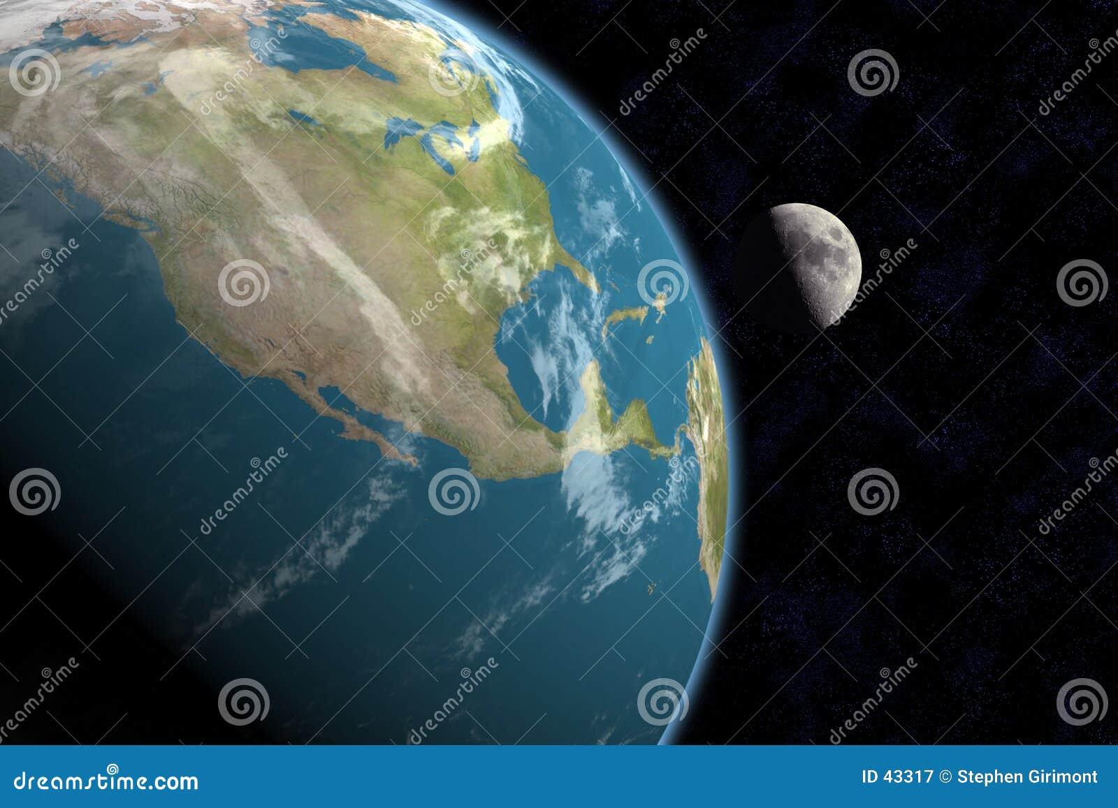 L Amérique du Nord et lune, avec des étoiles