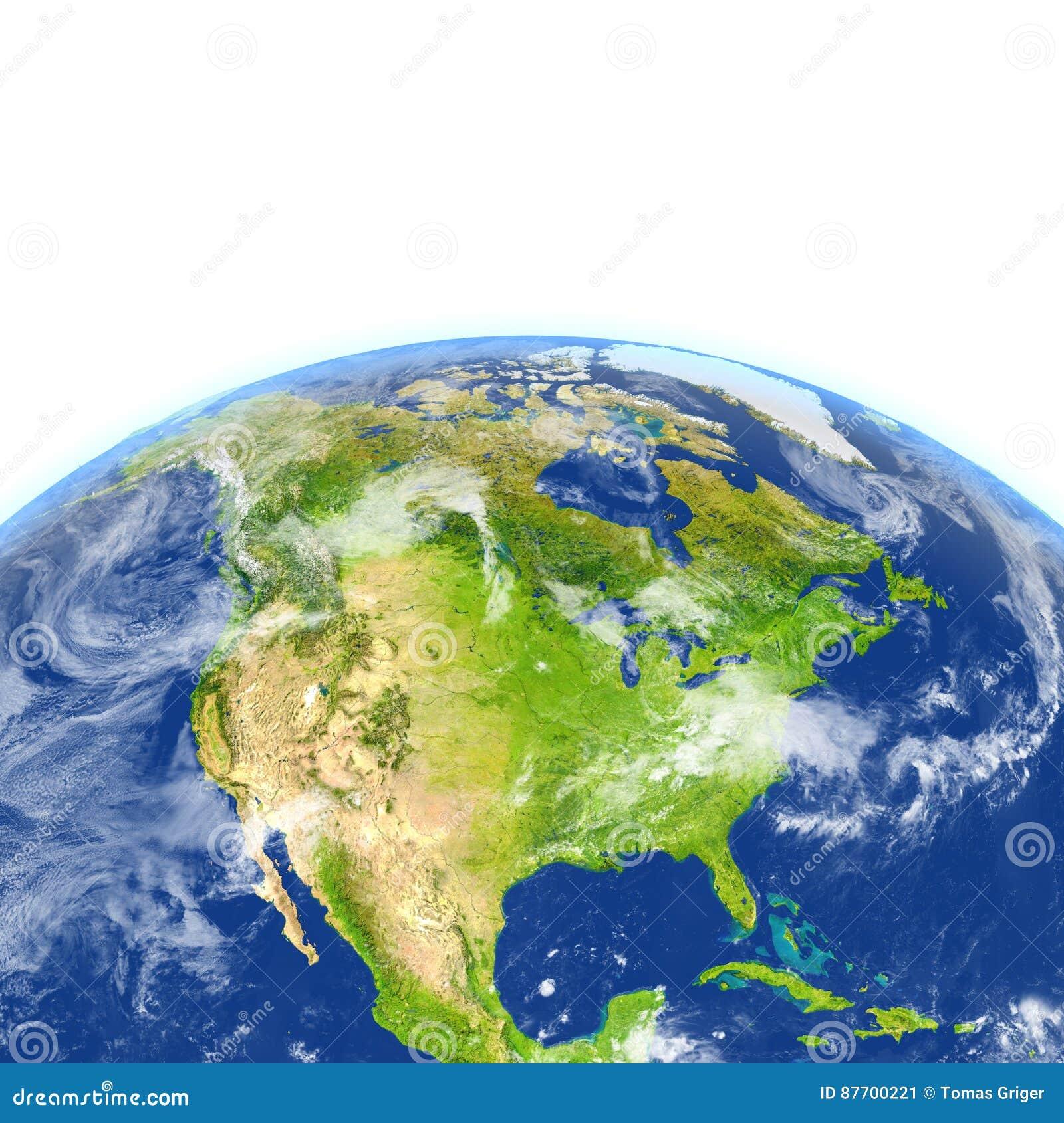 L Amérique du Nord sur terre de planète