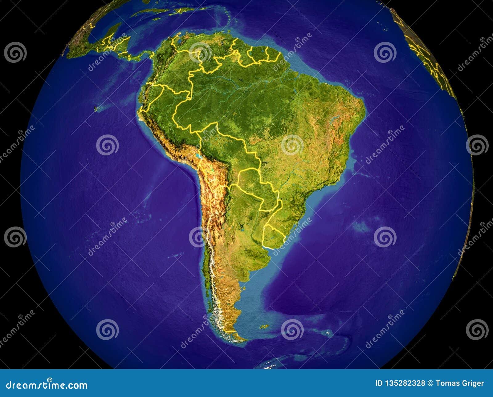 L Amérique du Sud sur terre
