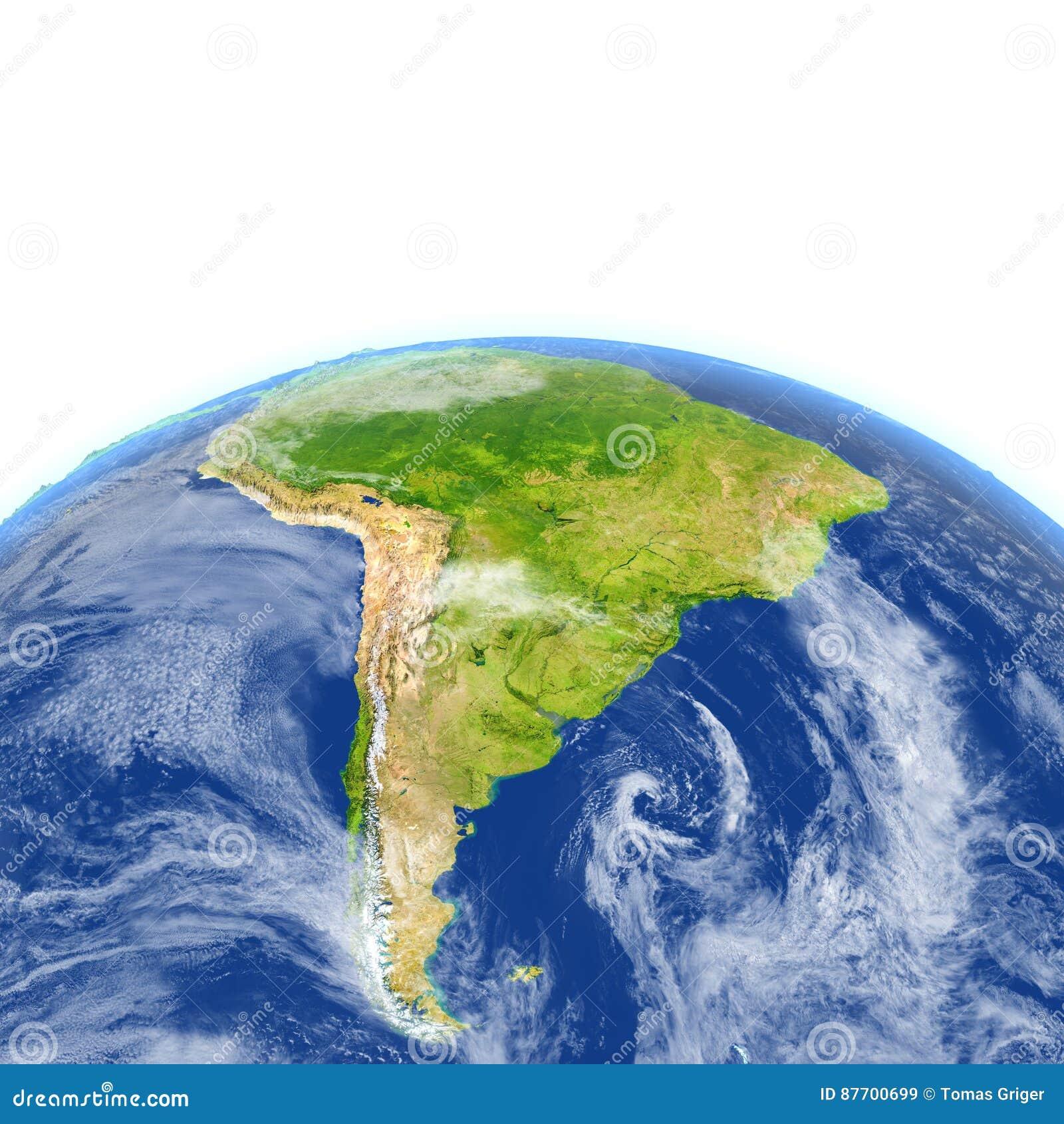 L Amérique du Sud sur terre de planète