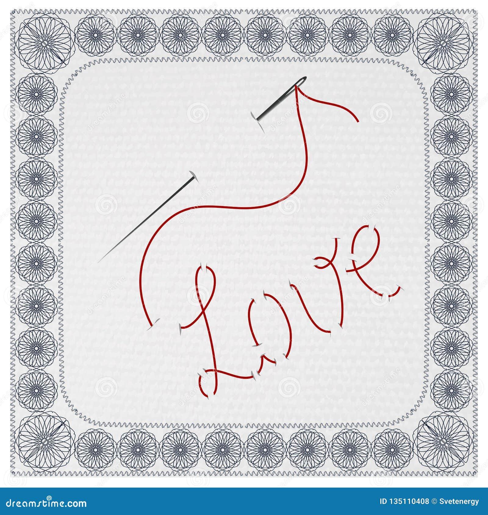 L amore di parola, ricamato con un ago e un filo Illustrazione di vettore
