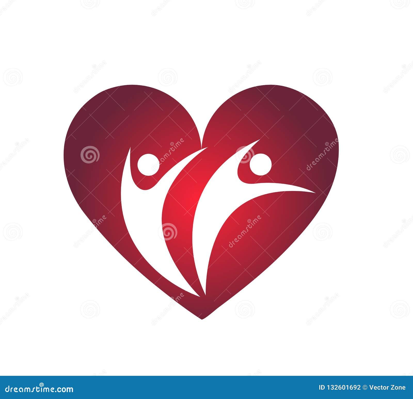 L amour de famille avec l élément rouge d icône de logo de concept de société de coeur se connectent le fond blanc