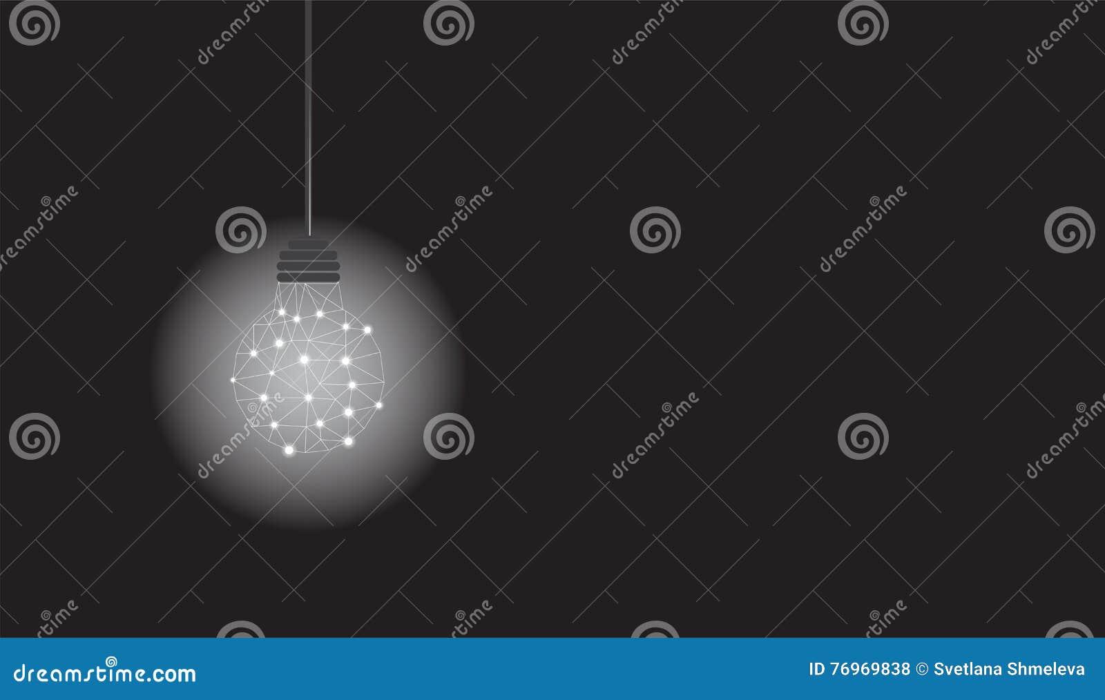L ampoule accrochante avec le polygone structurent rougeoyer sur le fond noir