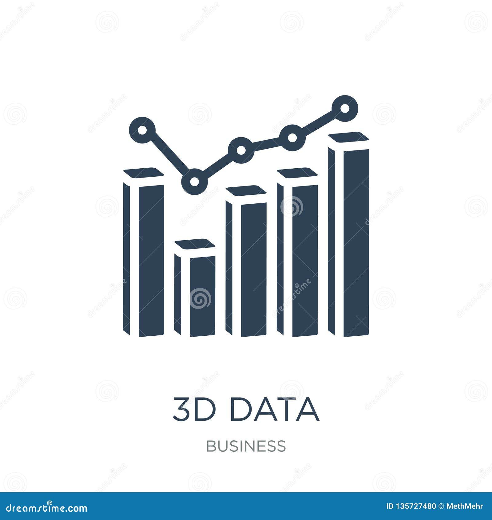 L analytics des données 3d barre l icône graphique dans le style à la mode de conception l analytics des données 3d barre l icône
