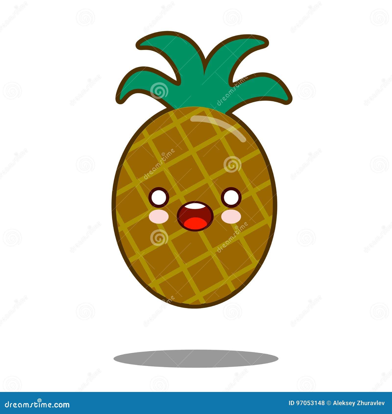 L Ananas Apple Fruttifica Vettore Piano Di Progettazione Di Kawaii