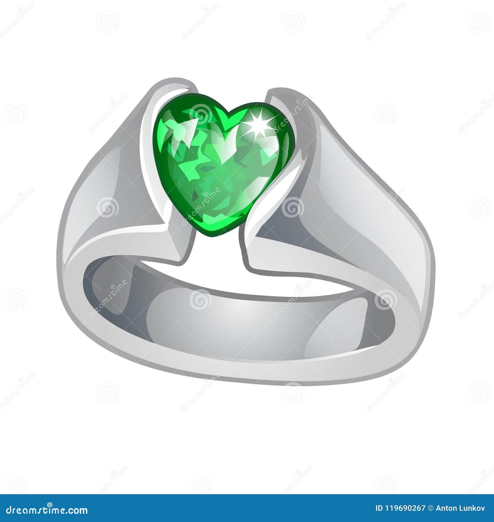 ultima moda up-to-date styling cerca il più recente L'anello Esclusivo Fatto Di Oro Bianco Con Cuore Verde ...