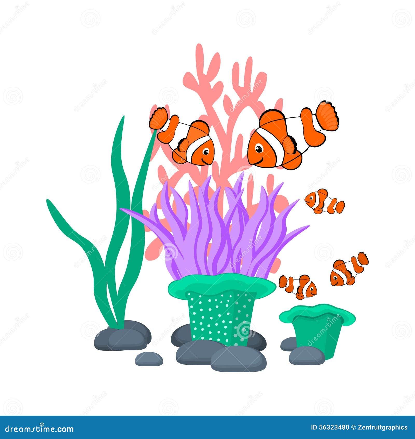 L anemone di mare e i clownfishes vector il grafico di vettore tropicale delle creature del mare del fumetto dell illustrazione d