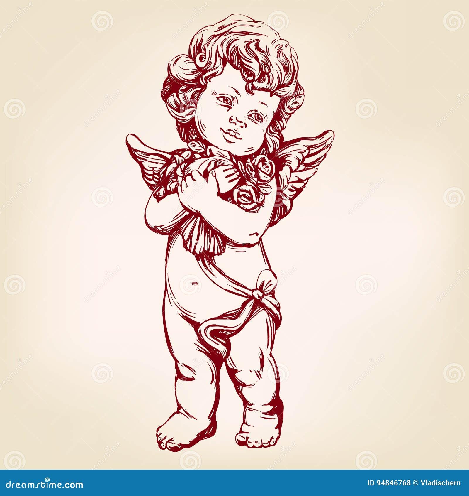 L 39 ange ou le cupidon petit b b tient un bouquet des - Dessin d ange gardien ...