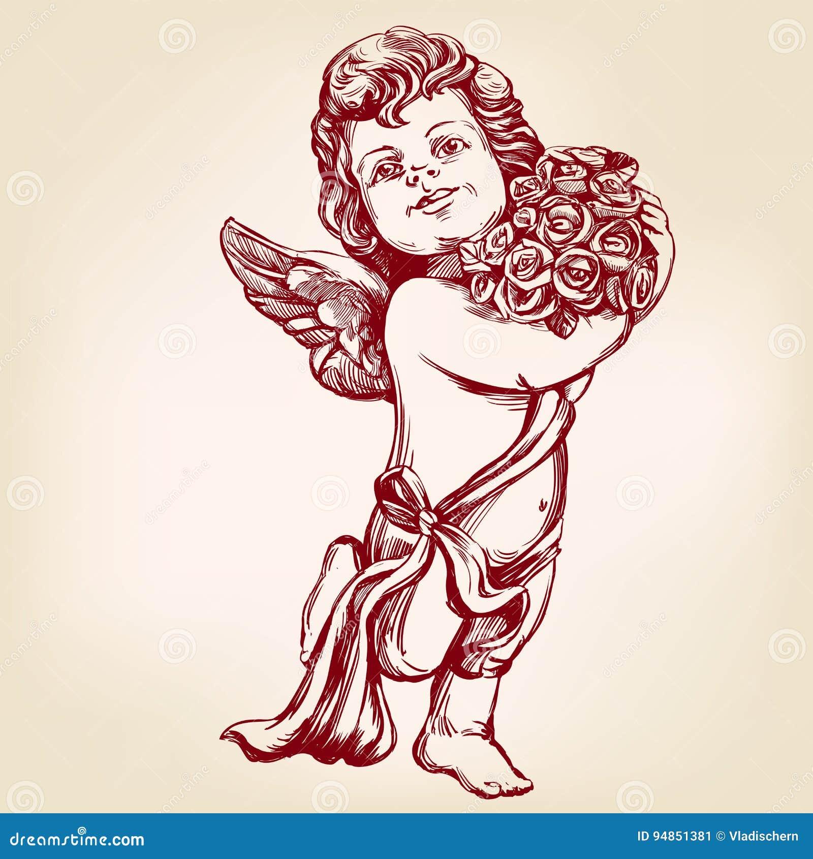 Dessin Ange Realiste l'ange ou le cupidon, petit bébé tient un bouquet des fleurs