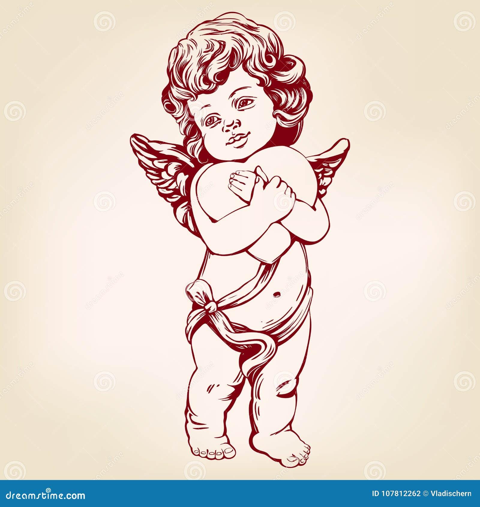 Dessin Ange Realiste l'ange ou le cupidon, petit bébé tient un coeur, jour de