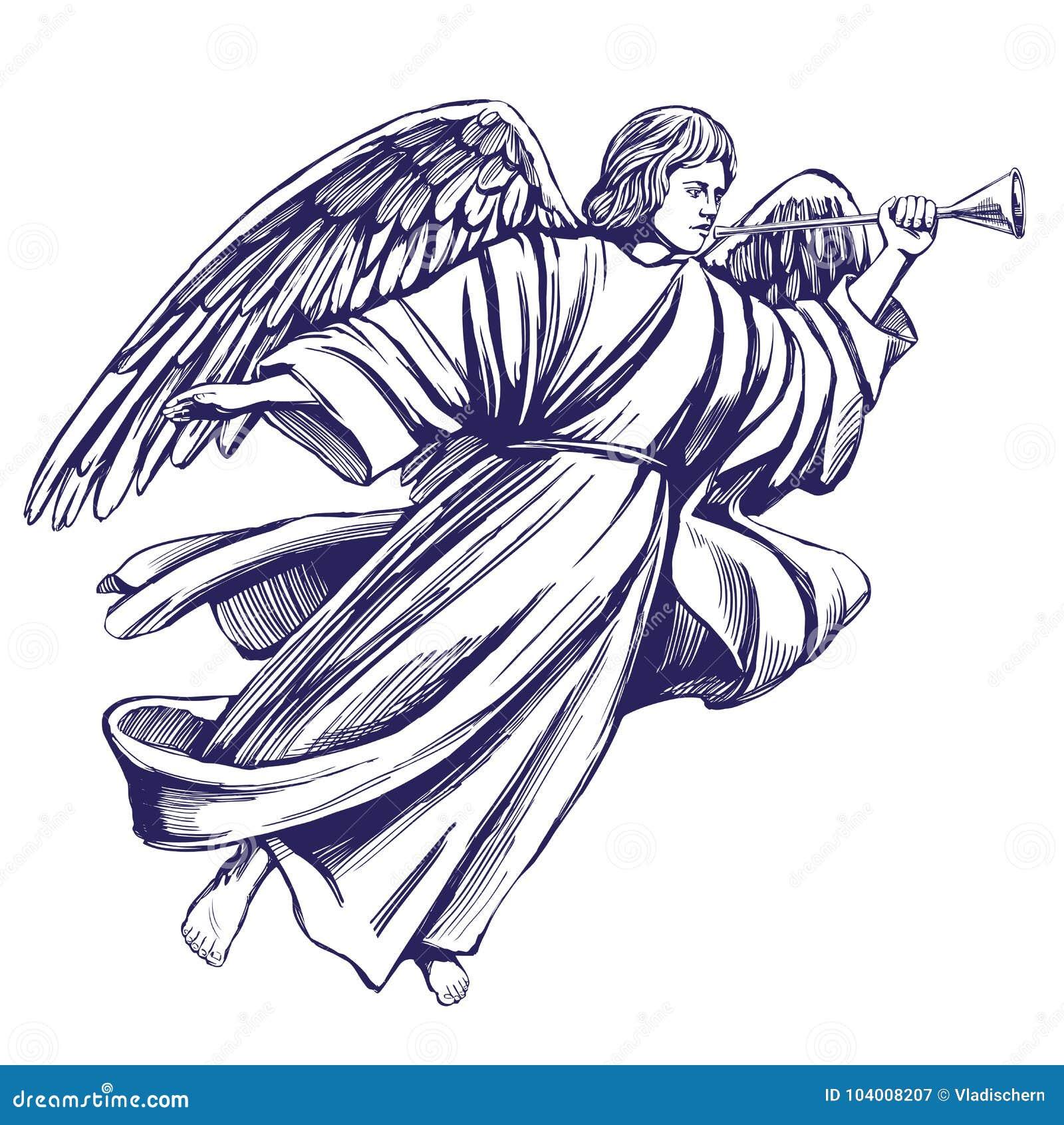 L ange pilote et joue la trompette, symbole religieux de croquis tiré par la main d illustration de vecteur de christianisme