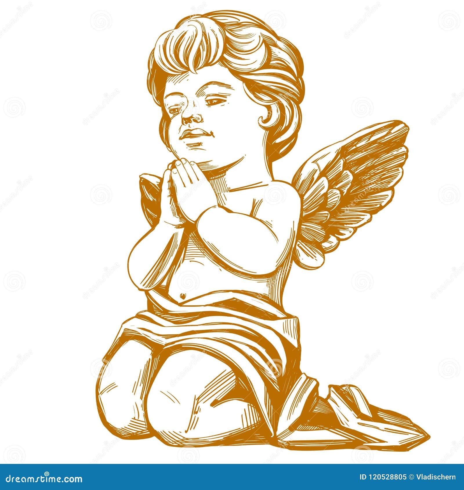 Dessin Ange Realiste l'ange prie sur son croquis réaliste d'illustration tirée