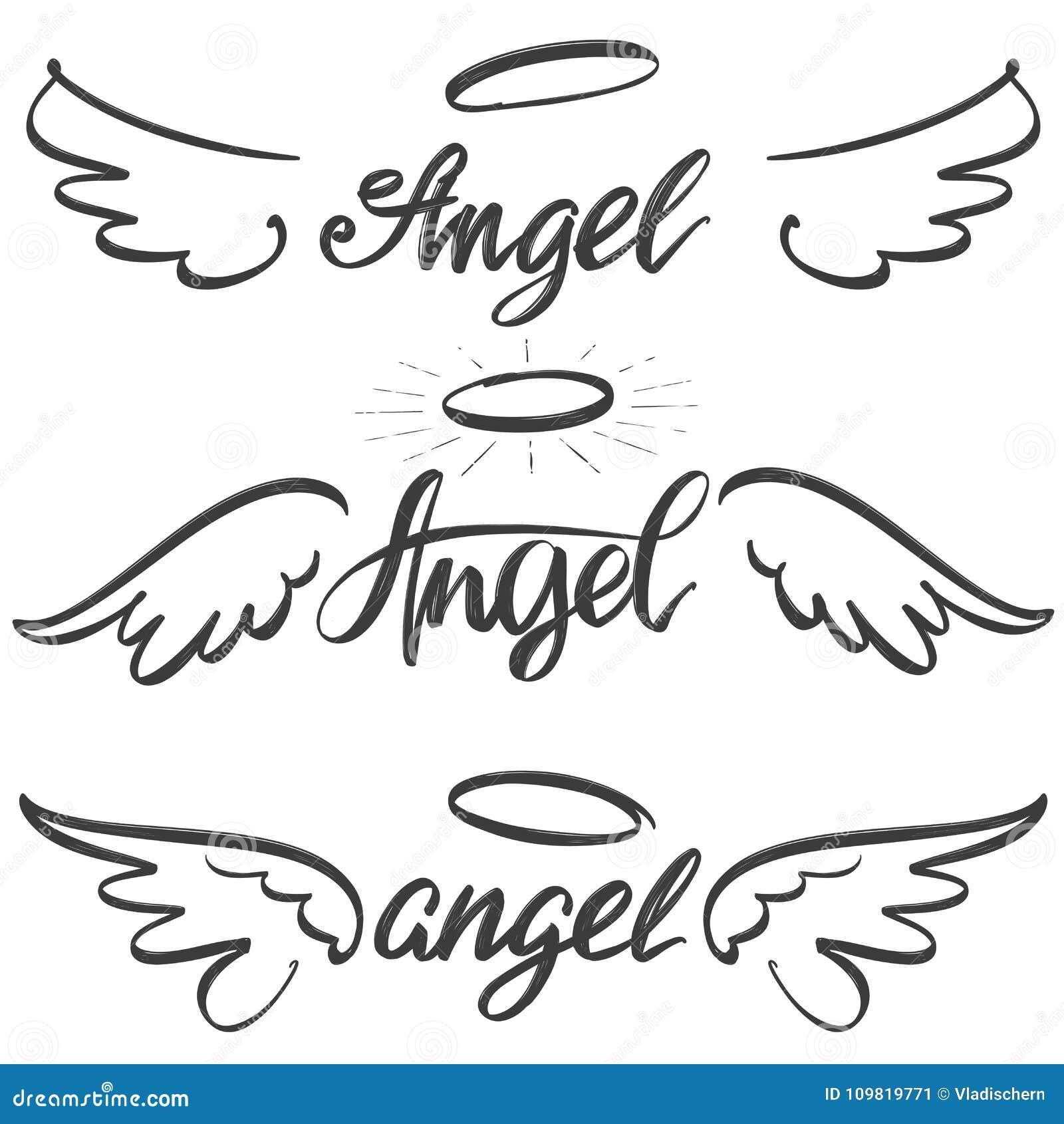 L ange s envole la collection de croquis d icône, symbole calligraphique religieux des textes d illustration tirée par la main de