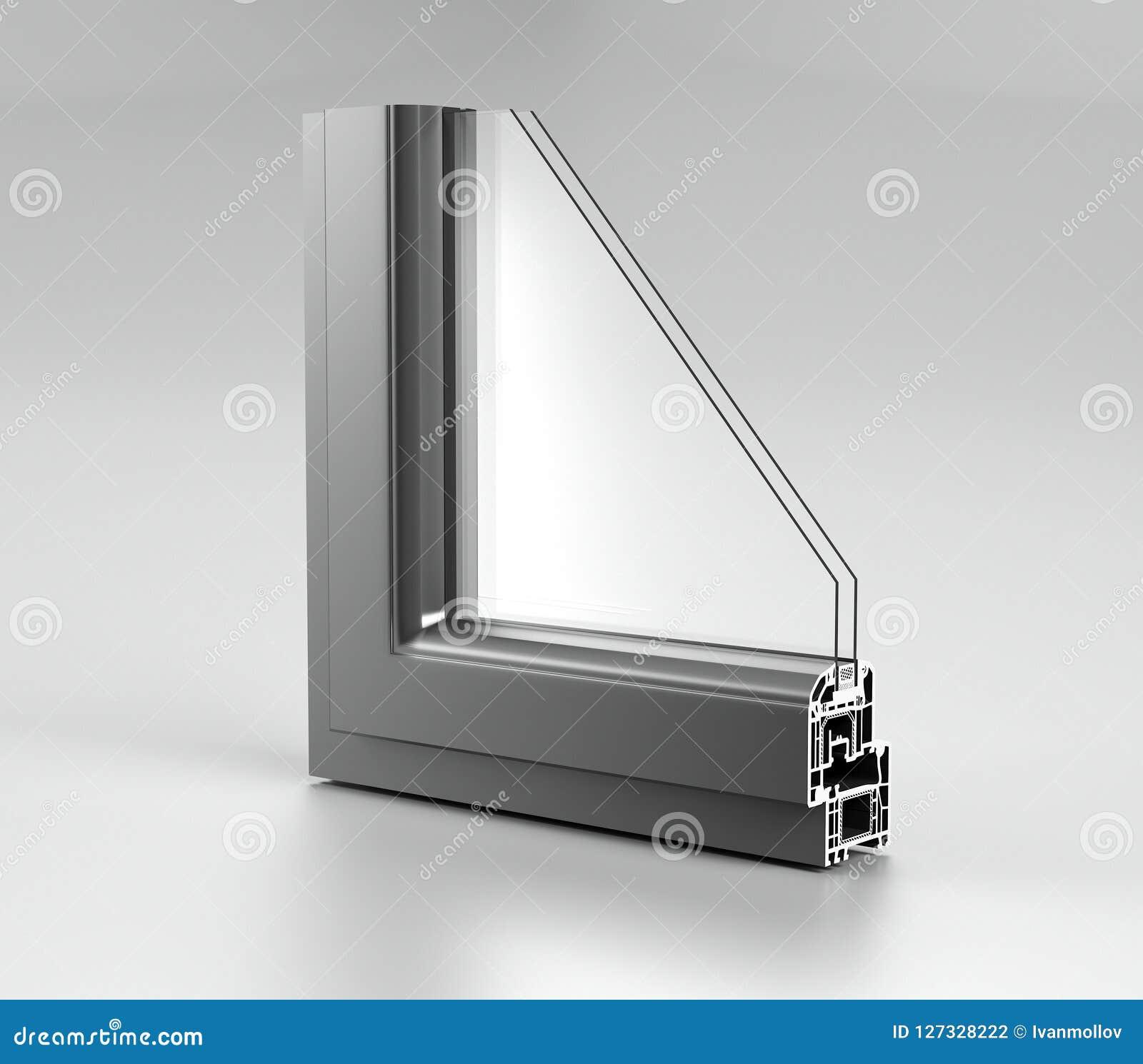 L angle réaliste a découpé la fenêtre en aluminium moderne H de maison en métal de PVC