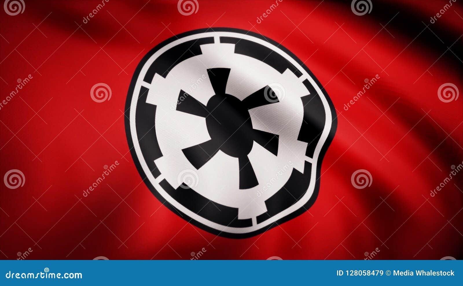 L animation du drapeau du nouvel empire galactique Le thème de Guerres des Étoiles Utilisation d éditorial seulement