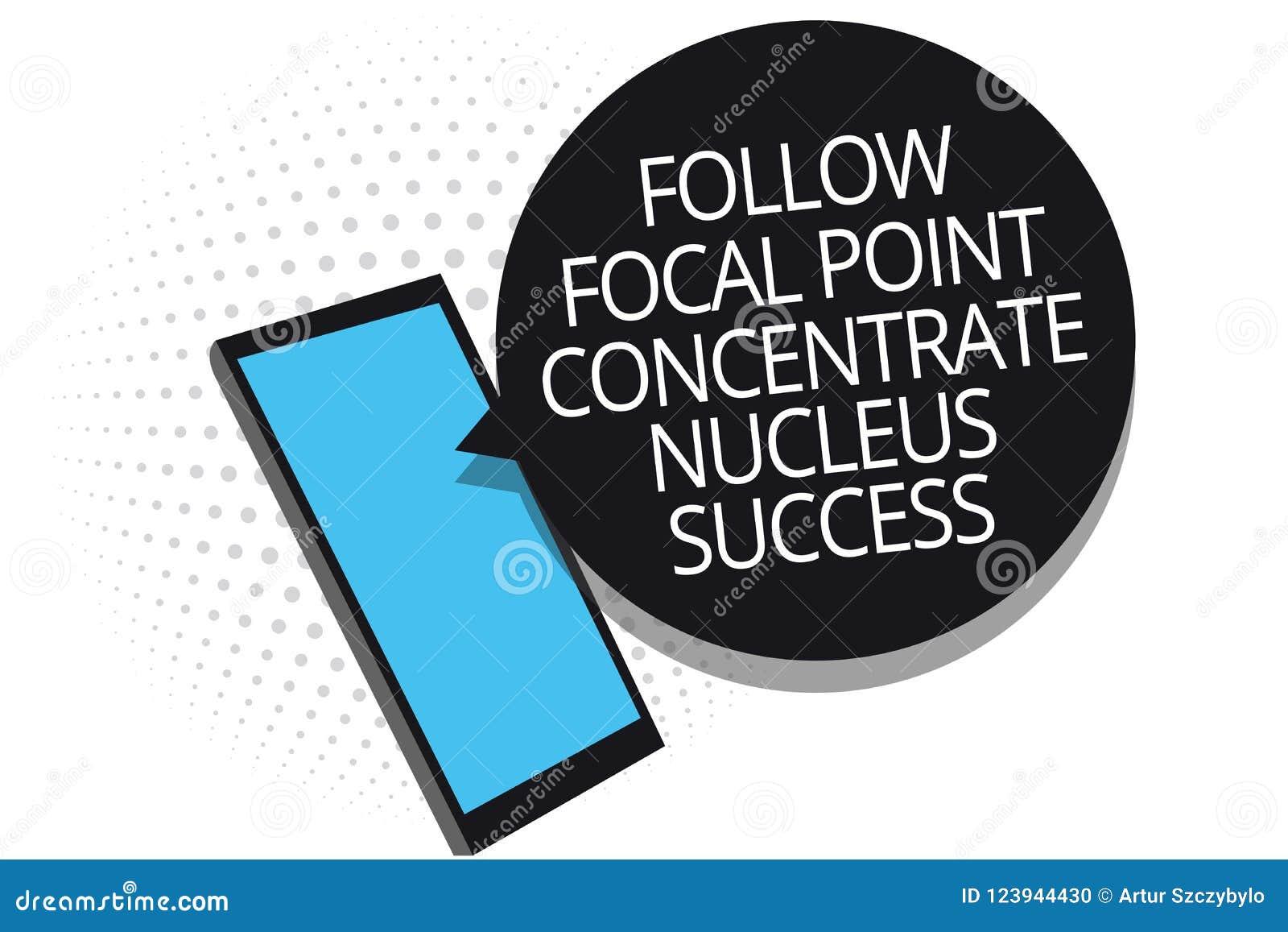 L apparence conceptuelle d écriture de main suivent le succès de noyau de concentré de point focal La concentration de présentati