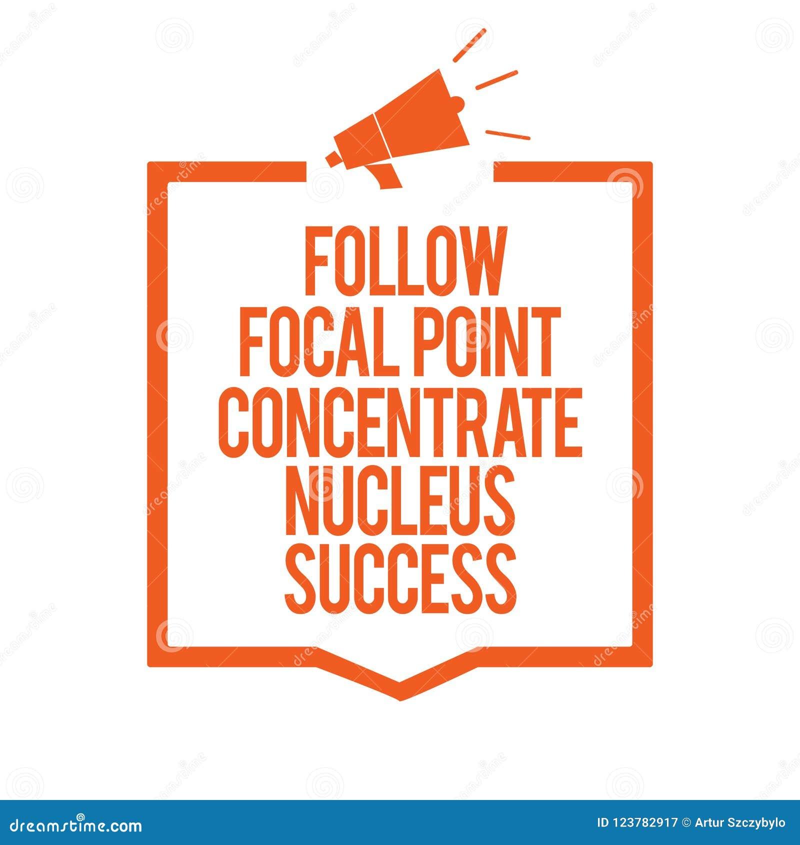 L apparence de note d écriture suivent le succès de noyau de concentré de point focal La concentration de présentation en photo d