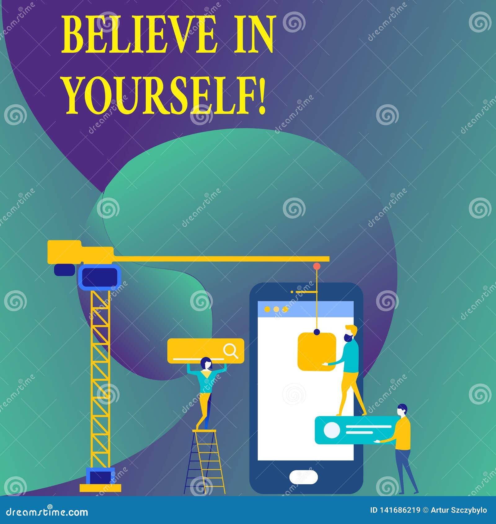 L apparence de signe des textes croient en vous-même Croyance conceptuelle de foi de confiance de courage de positivité de déterm