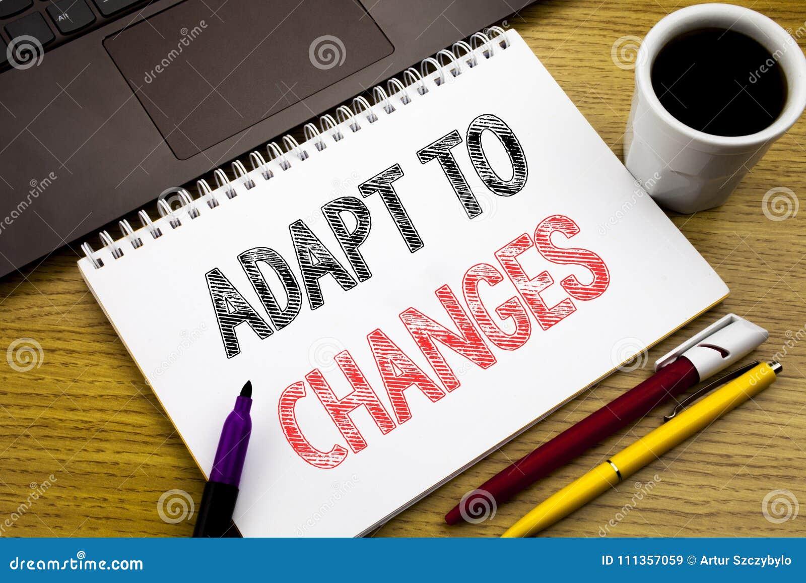 L apparence des textes d écriture s adaptent aux changements Concept d affaires pour le nouvel avenir d adaptation écrit sur le l