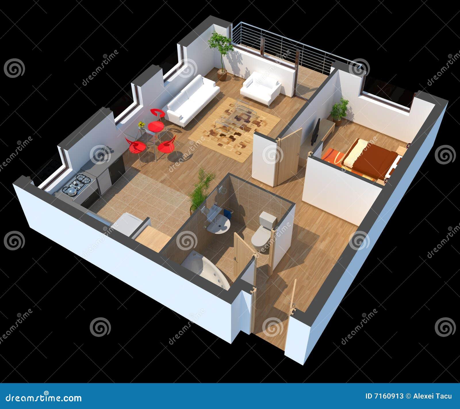 L appartamento 3d ha sezionato