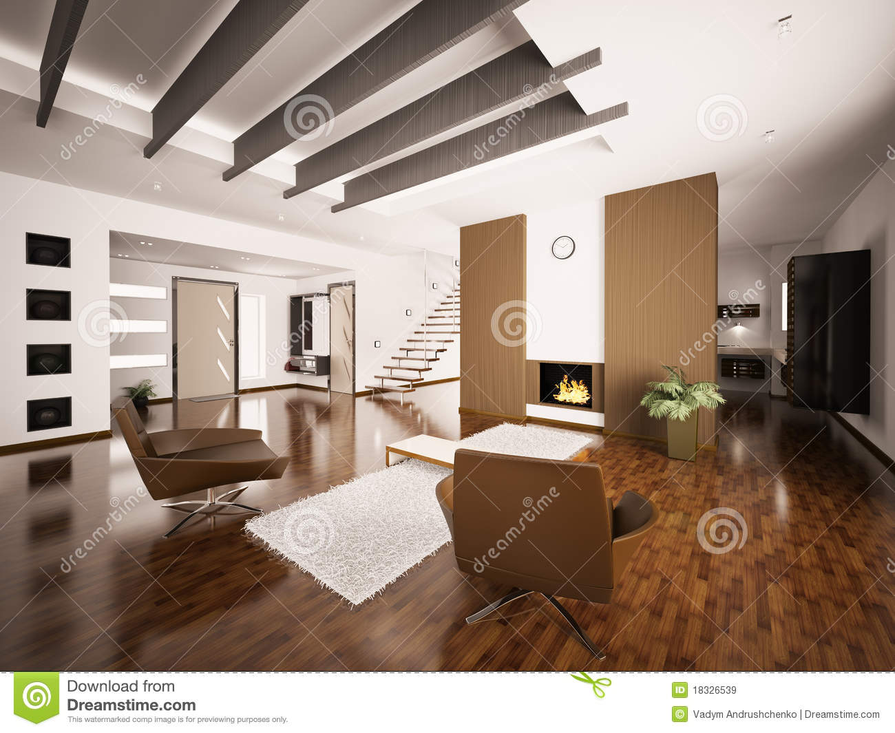 L 39 appartamento moderno 3d interno rende illustrazione di for Design moderno interni