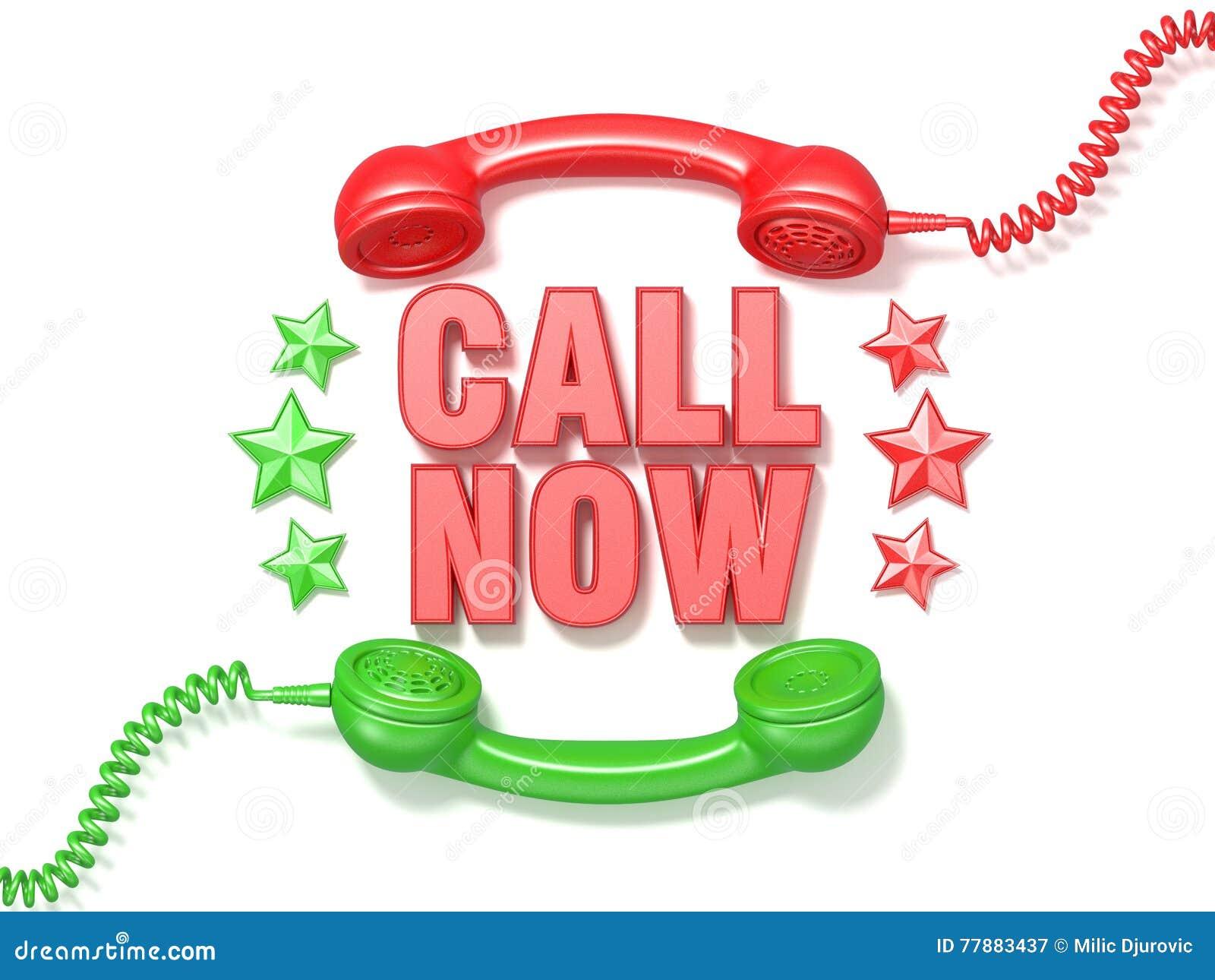 L appel signent maintenant Rétro cercle rouge et vert de récepteurs et d étoiles de téléphone