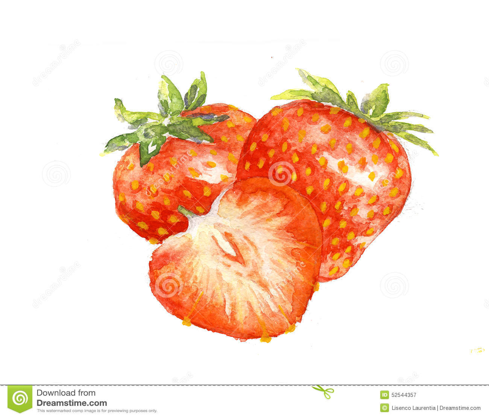 L'aquarelle De Peinture D'aquarelle De Fraises Illustration Stock -  Illustration du fraises, peinture: 52544357