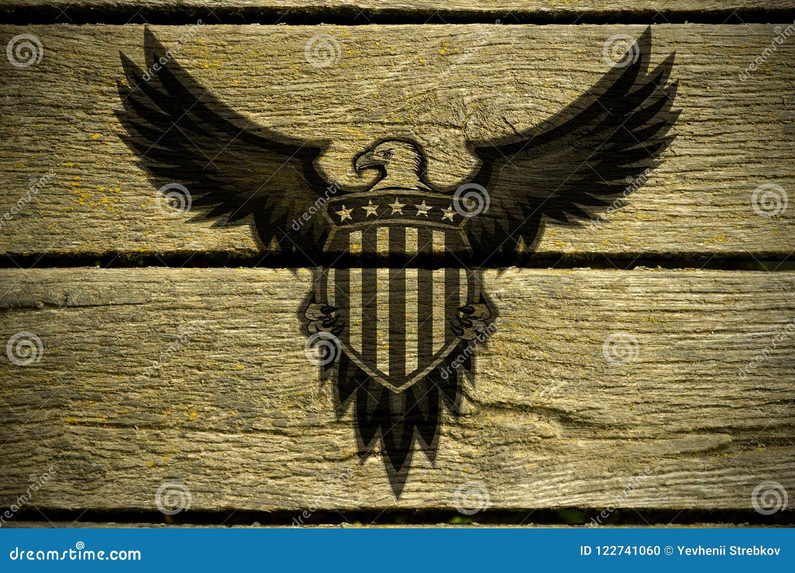 L aquila americana è convocata sui bordi di legno