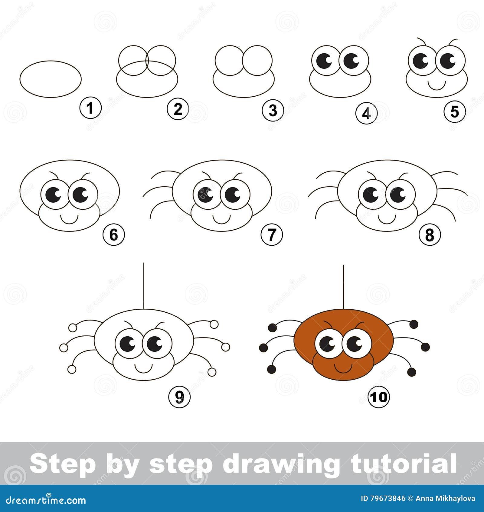 L Araignee Drole Cours De Dessin Illustration De Vecteur